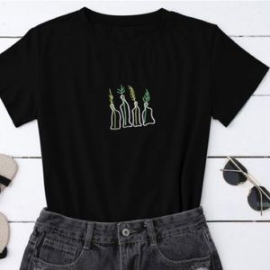 Zaful Plant Embroidered T-Shirt